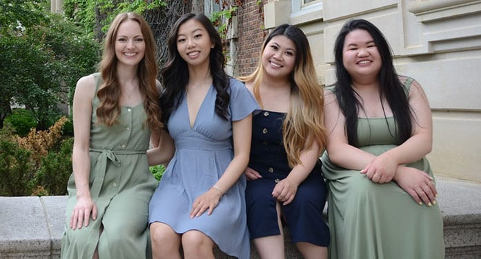 (From left) Recent U of A radiation therapy graduates Jordyn Mackie, Serena Wu, Samie Ly and Samantha Chan