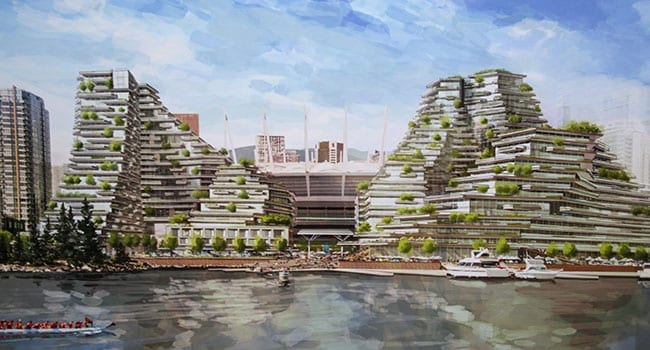 An artist impression of the proposed Expo Gardens development in Vancouver's False Creek