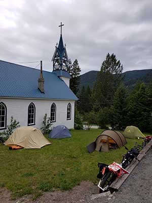 We camped at the church