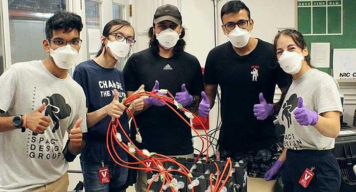 Rahul Ravin, Kinston Wong, Kirtan Dhunnoo, Shankar Jha and Amira Aissiou tested device reduced-gravity experiment competition