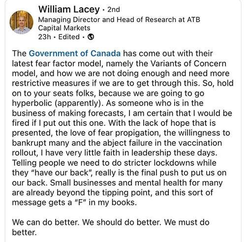 William Lacey tweet
