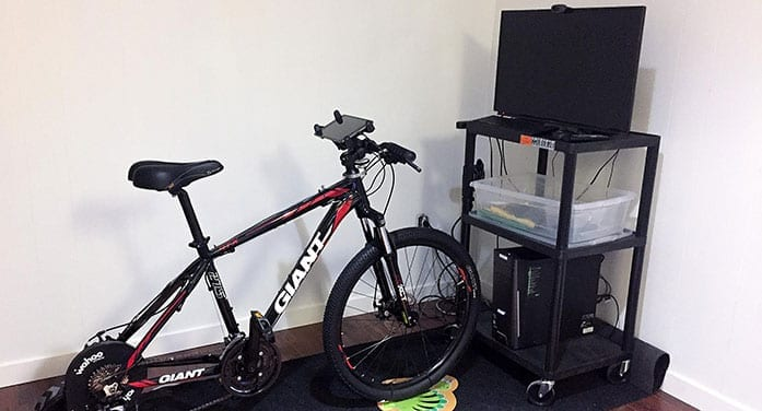 MedBIKE system stationary bike linked with tablet and video game