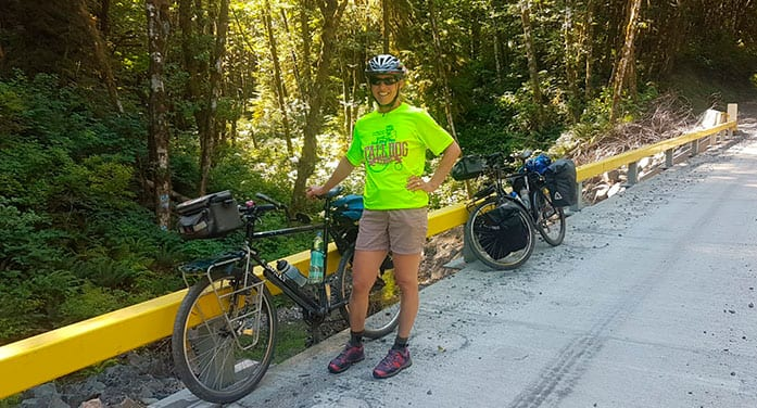 ConnecTour group member Tanya McFerrin during a rest break on a recent ride.