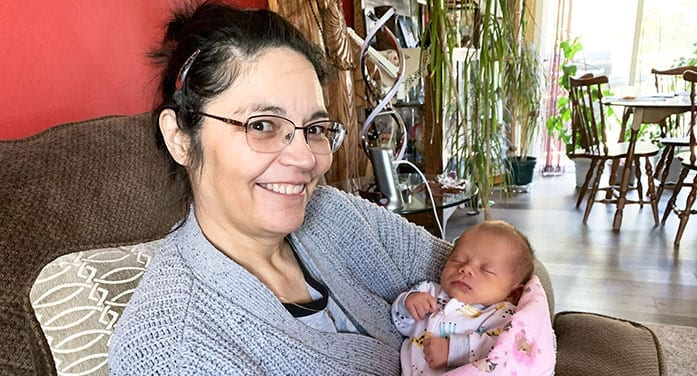 Nina Greene with her baby grandchild
