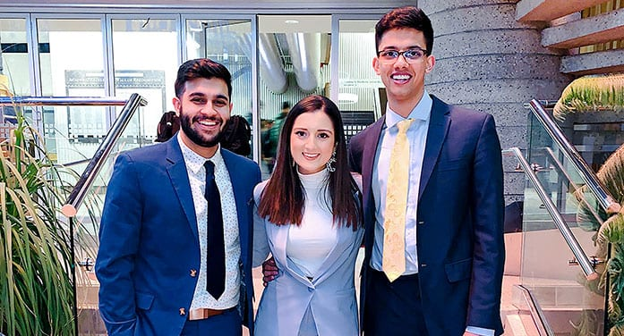 (From left) U of A science students Adarsh Badesha, Simran Dhillon and Ajaypartap Gill